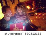 christmas surprise in red box...   Shutterstock . vector #530513188