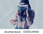woman with glasses of virtual... | Shutterstock . vector #530514940