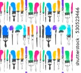 art paint brushes and oil... | Shutterstock .eps vector #530523466