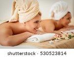 two cute young women enjoying... | Shutterstock . vector #530523814