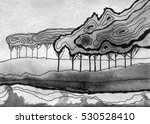 abstract ink landscape with... | Shutterstock . vector #530528410