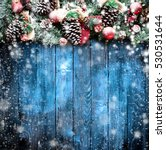 merry christmas frame with snow ...   Shutterstock . vector #530531644
