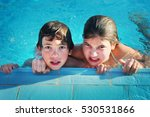 Small photo of kids in open air swimming pool