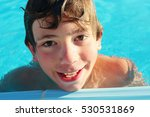 Small photo of preteen boy in swimming pool close up photo