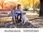 Stock photo family woman and her daughter walk with his dog autumn park colored photo 530535364
