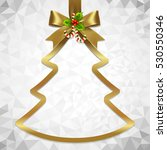 gold ribbon bow and hanged... | Shutterstock .eps vector #530550346