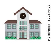 high school structure with clock | Shutterstock .eps vector #530554438