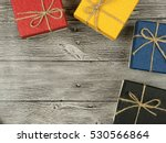 present box on wood background | Shutterstock . vector #530566864