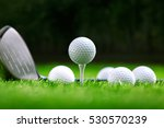 golf balls and golf club on...   Shutterstock . vector #530570239