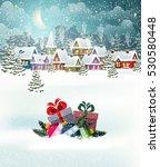 village winter landscape with... | Shutterstock .eps vector #530580448