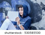 happy smiling young man  boy... | Shutterstock . vector #530585530