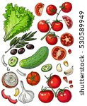 set of colored vegetables.... | Shutterstock .eps vector #530589949