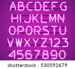 glowing purple neon alphabet... | Shutterstock .eps vector #530592679