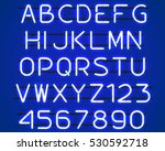 glowing blue neon alphabet with ... | Shutterstock .eps vector #530592718
