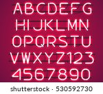 glowing red neon alphabet with... | Shutterstock .eps vector #530592730