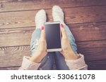 woman using white smart phone.... | Shutterstock . vector #530611078