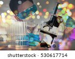 double exposure of microscope... | Shutterstock . vector #530617714