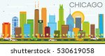 chicago skyline with color... | Shutterstock .eps vector #530619058