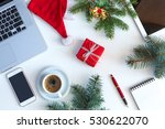 top view of white office table... | Shutterstock . vector #530622070
