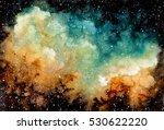 watercolor bright yellow nebula ... | Shutterstock . vector #530622220