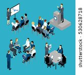 business training isometric set ... | Shutterstock .eps vector #530628718