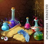magic bottles with recipe... | Shutterstock .eps vector #530631550