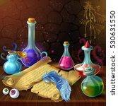 magic bottles with recipe... | Shutterstock .eps vector #530631550