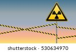 warning sign on a pole and... | Shutterstock .eps vector #530634970
