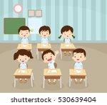 Children Boy Sitting At School...