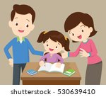 father and mother helping... | Shutterstock .eps vector #530639410