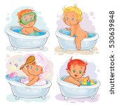 small children take a bath | Shutterstock .eps vector #530639848