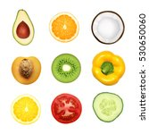 fruits and vegetables. top view ... | Shutterstock .eps vector #530650060