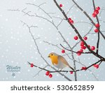 Vector Winter Card With Bird...