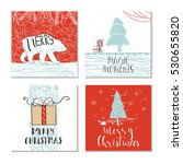 set of 4 cute christmas cards... | Shutterstock .eps vector #530655820