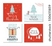 set of 4 cute christmas cards... | Shutterstock .eps vector #530655859
