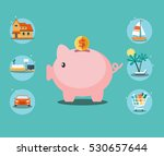 piggy bank and 6 icons  house ... | Shutterstock .eps vector #530657644