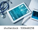 white tablet pc and doctor... | Shutterstock . vector #530668258