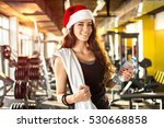 young woman with santa hat ... | Shutterstock . vector #530668858