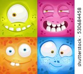 set of cartoon monster faces... | Shutterstock .eps vector #530684458
