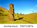 the moai of the hills of easter ... | Shutterstock . vector #530713876