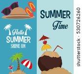 flyers hello summer card shine... | Shutterstock .eps vector #530726260
