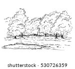 hand drawn trees and pond in... | Shutterstock .eps vector #530726359