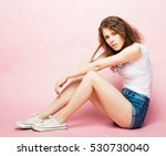 young beautiful curly  woman... | Shutterstock . vector #530730040