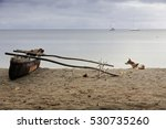 Old Dugout Fishing Rowboat Wit...