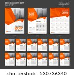 Set Orange Desk Calendar 2017...