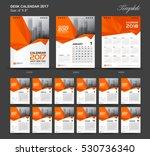 Set Orange Desk Calendar 2017...