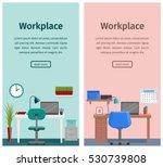 workspace  workplace design in... | Shutterstock .eps vector #530739808