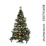 decorated gold christmas tree... | Shutterstock . vector #530741608