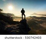 man on top of mountain. hiker... | Shutterstock . vector #530742403