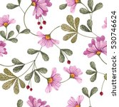 Stock photo seamless floral pattern with flowers and leaves 530746624